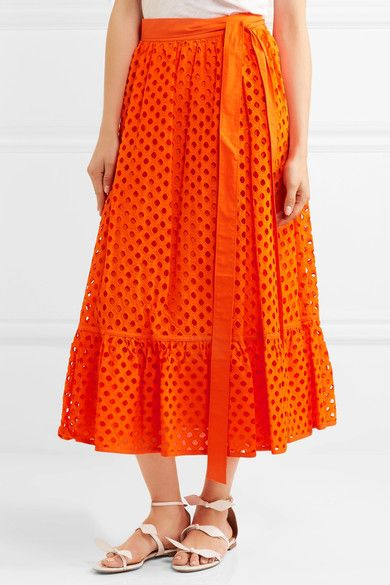Tory Burch - Hermosa Broderie Anglaise Cotton Wrap Skirt - Orange - US10