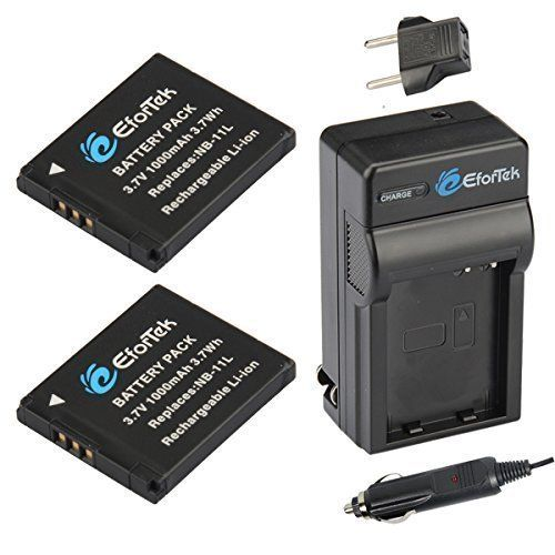 EforTek NB-11L Replacement Battery (2-Pack) and Charger Kit for Canon NB-11L and Canon PowerShot A2300 IS A2400 IS A2500 A2600 A3400 IS A3500 IS A4000 IS ELPH 110 HS ELPH 115 HS ELPH 130 HS ELPH 170 ISELPH 320 HS ELPH 340 HSSX400 ISSX410 ISELPH 350 HS
