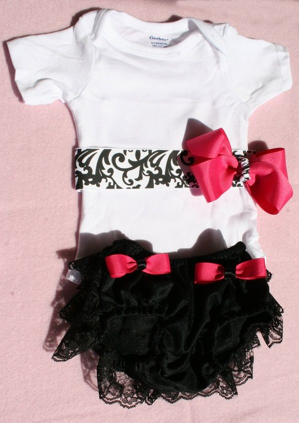 Baby Girl Clothes Onesie with B Ribbon Pink Boutique by itsyglam. $20.99, via Etsy.