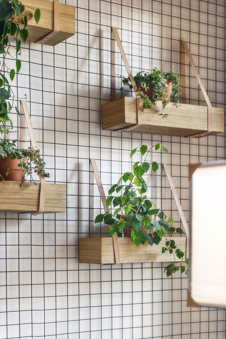 DIY Inspiration - Wood crates on the Wall with leather straps for herbs in the Kitchen