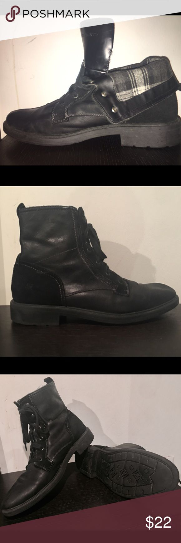 Black Leather Fold Over Boots By Skechers Men's 12 Super cool versatile black boots. Full boot - zipped up Black Leather and suede outside Ankle boot- unzip exposing the black and white plaid interiors. Great traction for mud and snow. Preowned rarely worn living in the sunshine.  Great condition (see pics) Skechers Shoes Boots