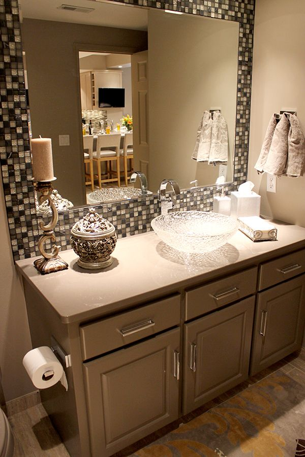 Framed  Mirror in Bathroom  Could diy You can buy self stick mosaic tiles  so you don t have to use adhesive and grout  They are made out of plastic  but. 17 Best ideas about Tile Mirror Frames on Pinterest   Framing a