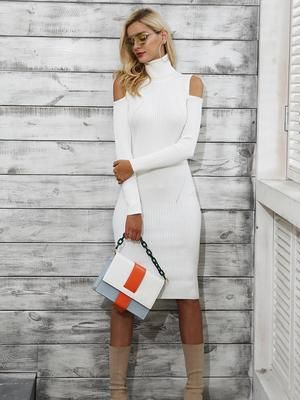Love this cold shoulder turtle neck dress