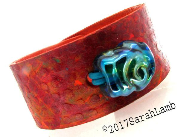 leather cuff with lampwork glass bead £18.50