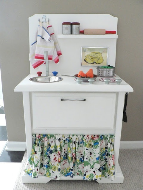 DIY kids kitchen from a bedside table