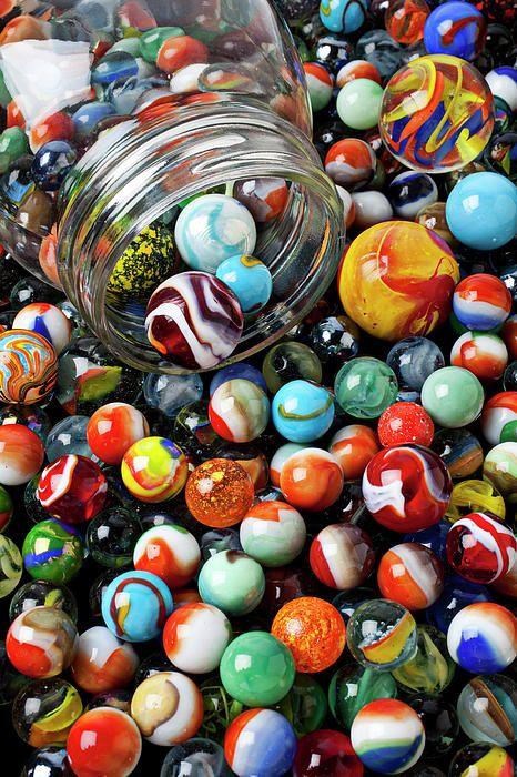 Glass jar and marbles Fine Art Print - Garry Gay