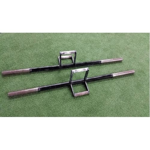 Adrenaline Training Farmer Walk Implements. Strengthen your grip and improve your conditioning. Two handle heights to choose from with different handle thicknesses. #strongman #farmerswalk #farmerwalkimplements #adrenalineequipment #crossfit