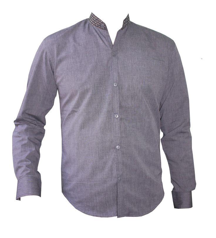 chemise homme cintr e col mao chemise manches longues grise en coton avec une finition coton. Black Bedroom Furniture Sets. Home Design Ideas