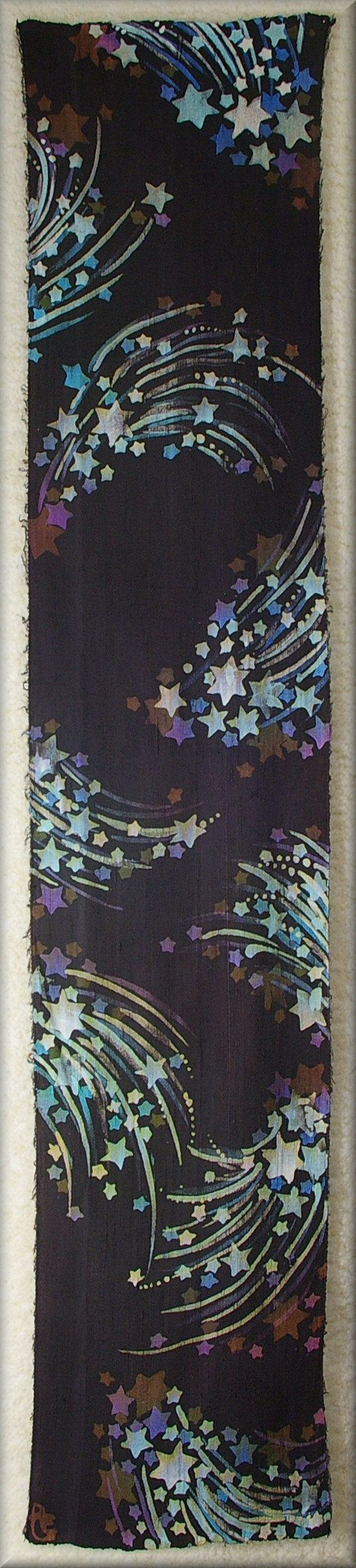 Shooting Stars in Blues Purples and Browns Background is Charcoal. - Dupioni Mens Silk Scarf (approx. 11x54 inches) by Laura Elderton, Silk in Art