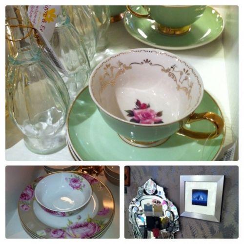 Gammeldags+kopp++Med+tefat.+Vakker+grønn+med+rose+inni.++Gullkant+