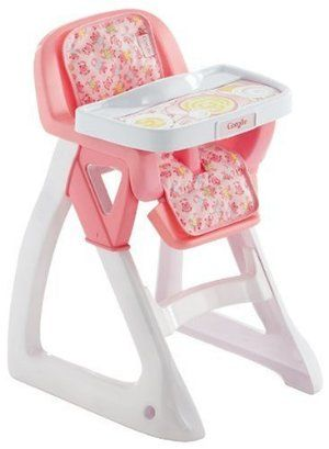 """Corolle Mon Premier Nursery My First High Chair - 15"""" x 11"""" x 10"""" by Corolle. $39.47. The highchair tray really works; it slides in and out easily. Perfect baby doll accessory.. Minimal and simple assembly makes this doll bed easy to set up.. Entertaining added playtime value for the your child's baby dolls.. Seating pad is machine washable.. From the Manufacturer                Corolle Mon Premier Nursery My First High Chair ensures your baby doll will be comfo..."""