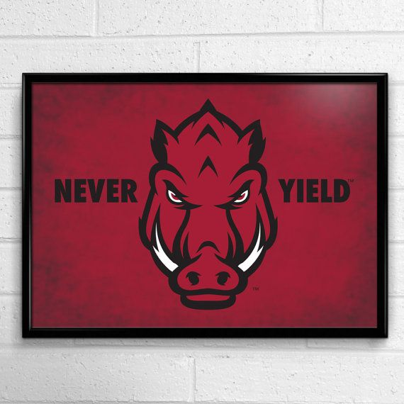 Arkansas Razorbacks Football Poster Never Yield by SportPostersUSA