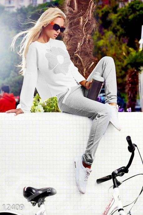 Gepur | Серо/белый спортивынй костюм арт. 12409 Цена от производителя, достоверные описание, отзывы, фото