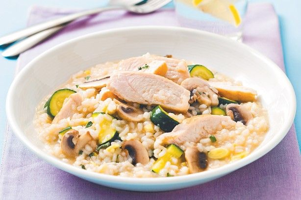 The classic combination of chicken, mushrooms and asparagus make this risotto a fabulous dinner idea.