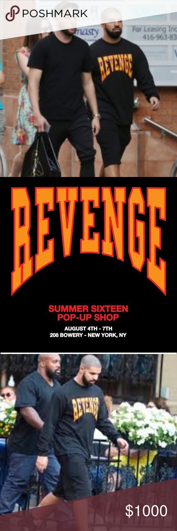 """Drake Pop-Up Revenge Summer 16 Long Sleeve Shirt ! This shirt is from the Drake NYC pop-up in Bowery NYC. Stood in line for 2 hours for this shirt and it's not sold in stores. Brand new and never worn. You will see the shirt featured in Drake's video """"Child's Play"""". It is authentic and from the Revenge/Summer 16 popup store. Says """"looking for revenge on the left wrist"""" Same shirt that Drake is wearing in the photos. Make me an offer!!! ✌🏾️🔥🔥🔥💯 Drake Summer 16 Tops Tees - Long Sleeve"""