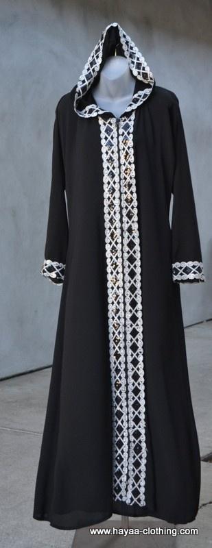 Hayaa Clothing - AYA Silver Hooded  Black Abaya,(http://www.hayaaclothing.com/aya-silver-hooded-black-abaya/)
