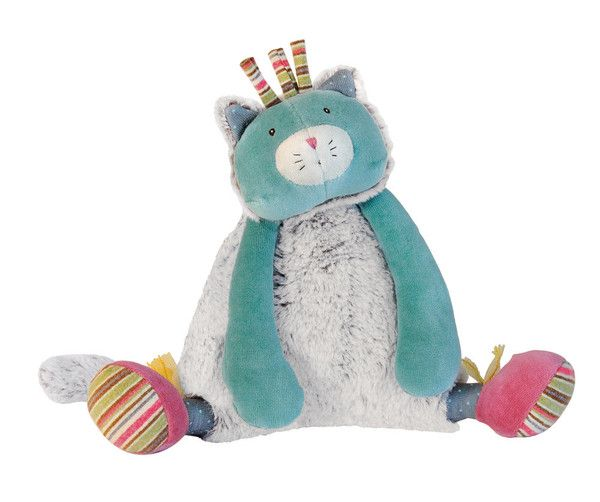 Musical Chacha Doll: Musical cat in velvet and fur, very soft to cuddle. The music is: Les petits poissons dans l'eau. - Moulin Roty Les Pachats