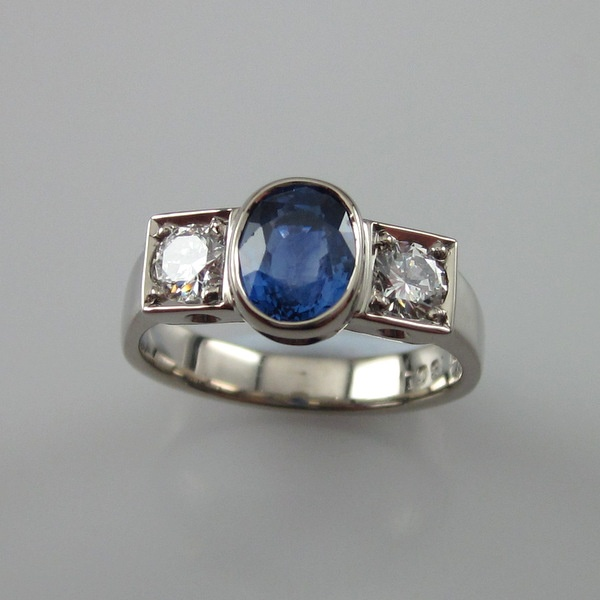 18ct White Gold Sapphire and Diamond Ring | Geoff Taylor Goldsmith