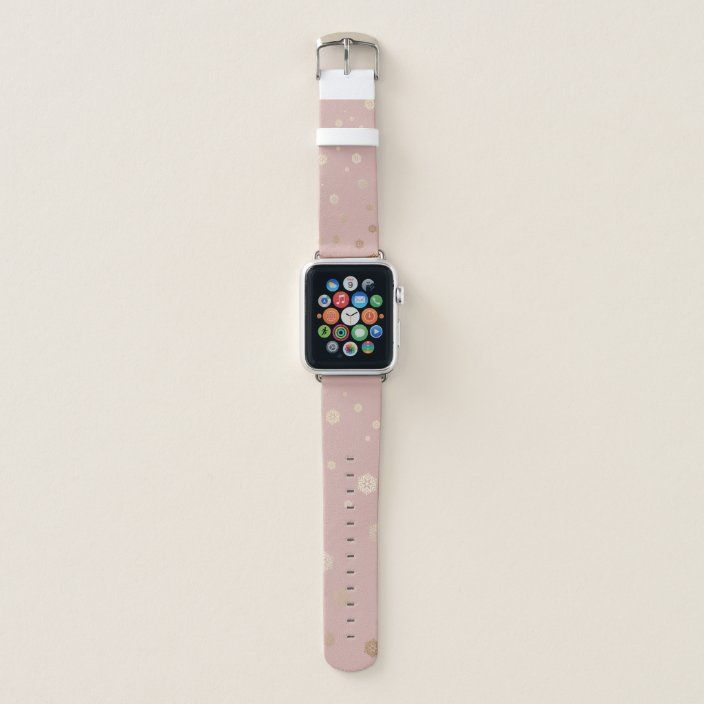 Rose Gold Snowflakes With Pink Background Apple Watch Band Zazzle Com Pink Apple Watch Band Apple Watch Bands 38mm Apple Watch Band