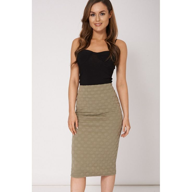 Khaki Pencil Skirt Available In Plus Sizes