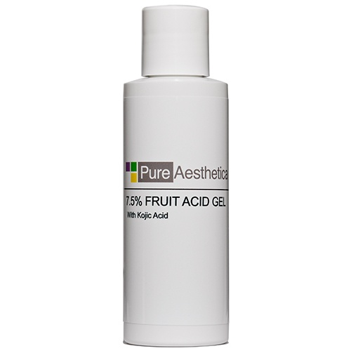 Our Fruit Acid Gel with Kojic Acid improves pigment, texture and tone while revealing noticeably smoother, healthier skin.    Created with a blend of Glycolic, Lactic & Pyruvic acids, Pure Aesthetica's Fruit Acid Gel effectively removes the outer layers of thickened or damaged skin, improving texture and tone while revealing noticeably smoother, healthier skin. Reduces fine lines, wrinkles, and excess oil. Smoothes dry, damaged and rough skin.