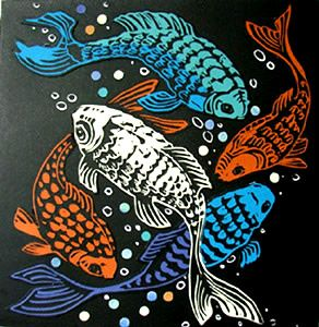 At the Surface / fishes - linoleum block print + collage - Joan Colbert, U.S.A.