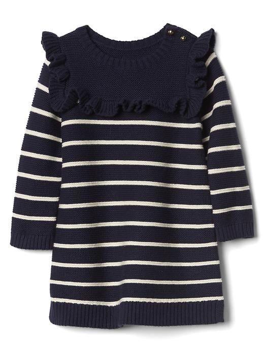 Gap Baby Stripe Ruffle Sweater Dress Dark Night