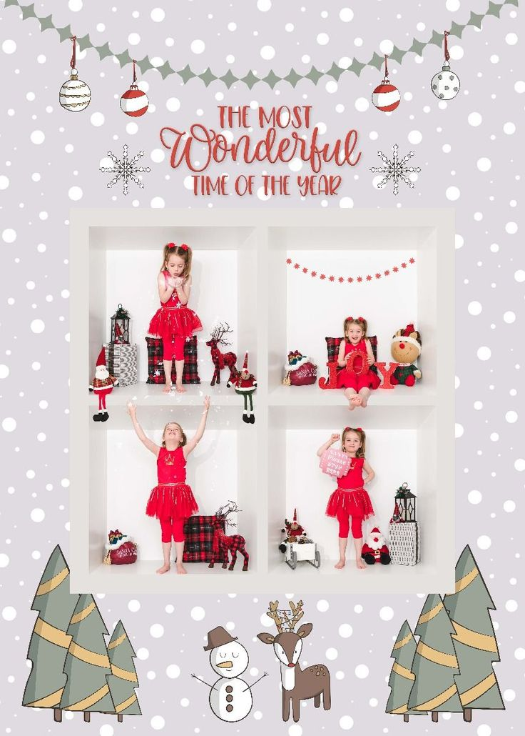 Snowy Wonderland Holiday Card Digital Template For Photographers Holiday Cards Greeting Card Template Christmas Templates