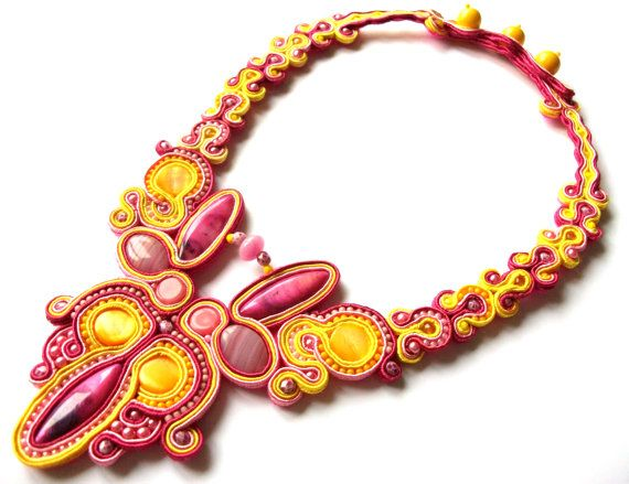 Yellow and pink soutache necklace  Statement necklace  by KicsiYu