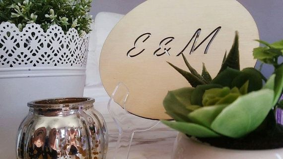 Simple and Classic. The perfect CUT OUT INITIALS custom timber plaque from Katrina Louise Designs for Engagements, Weddings, gifts and decorations.