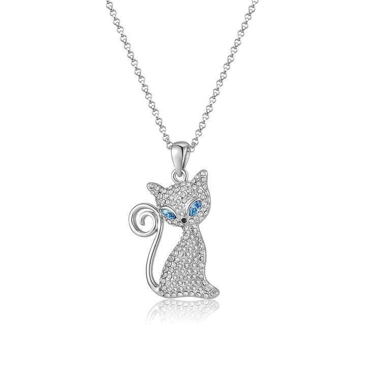 Women's Austrian Crystals Cat Charm Pendant White Gold Plated Choker Necklace Parati(TM) Fashion Jewelry Crystal Gift Collections Blue/Olive/Light Pink Eyes