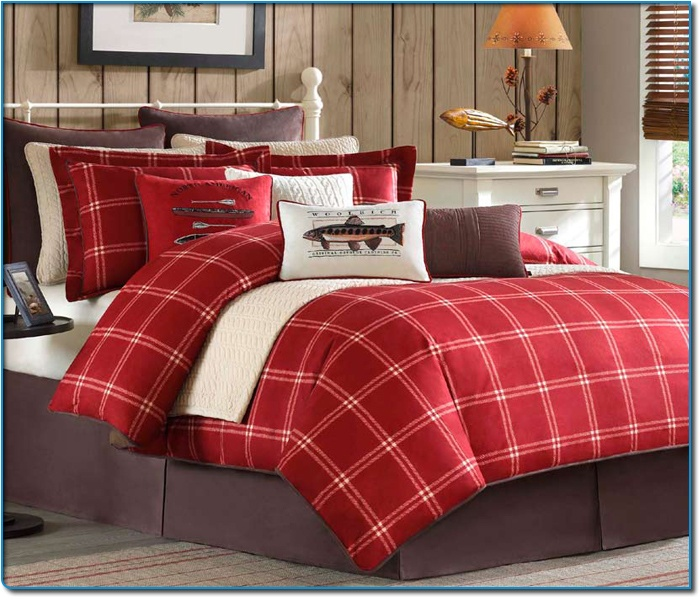 Image Detail For -Scarlet Windowpane Plaid King Size Comforter Set By Woolrich Bedding