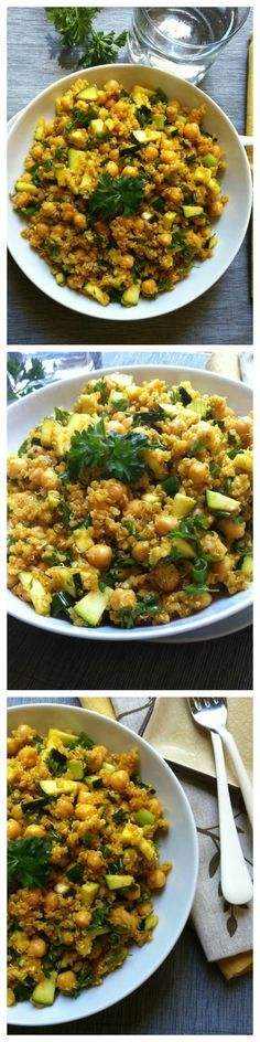 Zucchini Chickpea Quinoa Salad mixes zucchini, fresh parsley, green onions and chickpeas with a spiced olive oil dressing. This salad has the rich, warm flavors of cumin, turmeric and paprika and offers protein // A Cedar Spoon