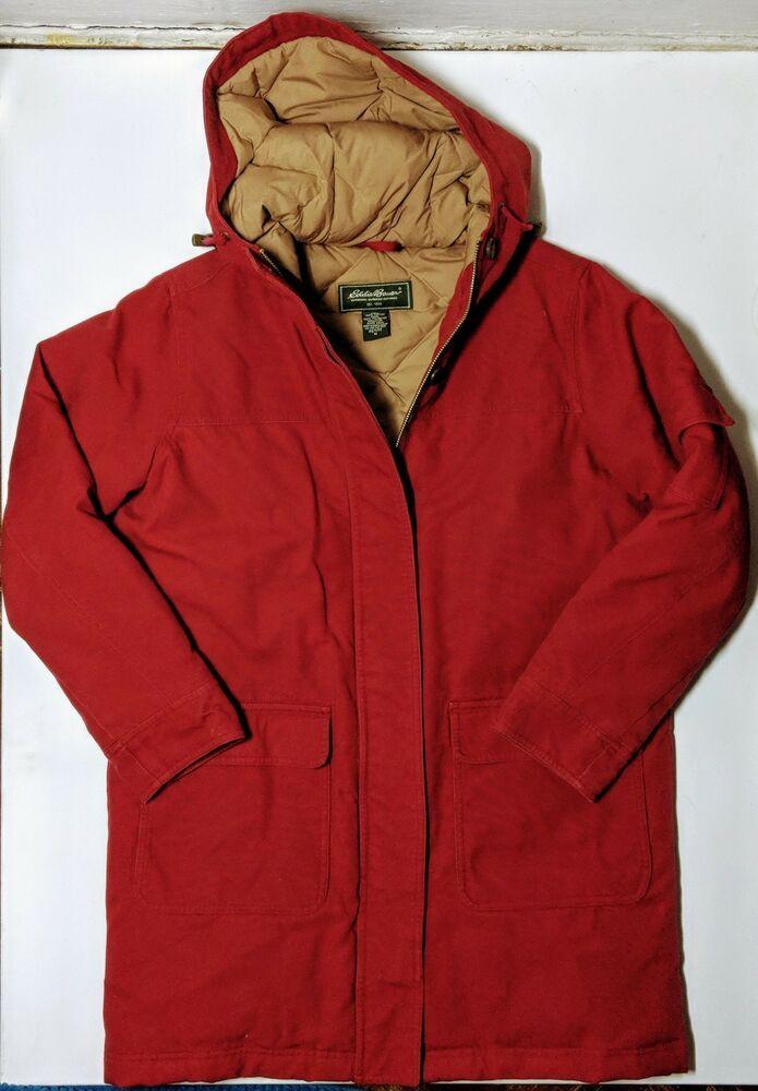 bcaf3cafc32 Eddie Bauer Goose Down Weather Edge Gray Parka Winter Coat Womens M ...