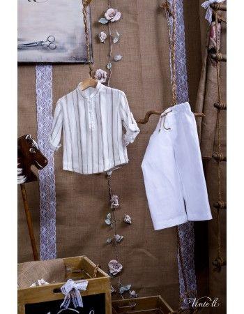 Χειροποίητο βαπτιστικό Vinte Li αποτελούμενο απο ριγέ πουκάμισο και μονόχρωμο παντελόνι.