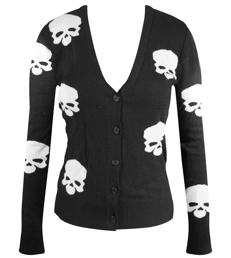 Must Have for all punk, alternative, horror and psychobillys! That is all we gotta say about this one. This knit sweater cardigan with its all-over skull print design has an awesome silhouette. Featur