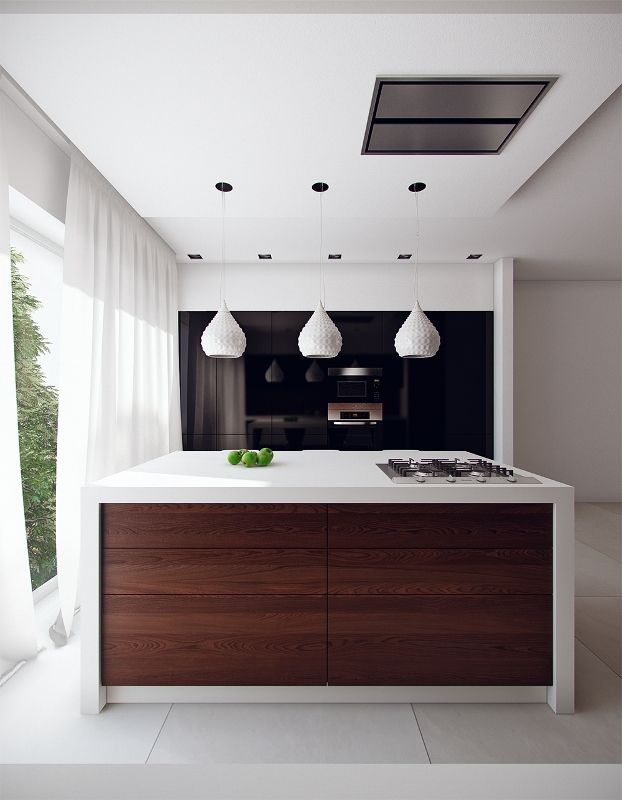 Simple Small Modern Kitchen Eat In Design With Island Bar And Three White Hanging Lamp