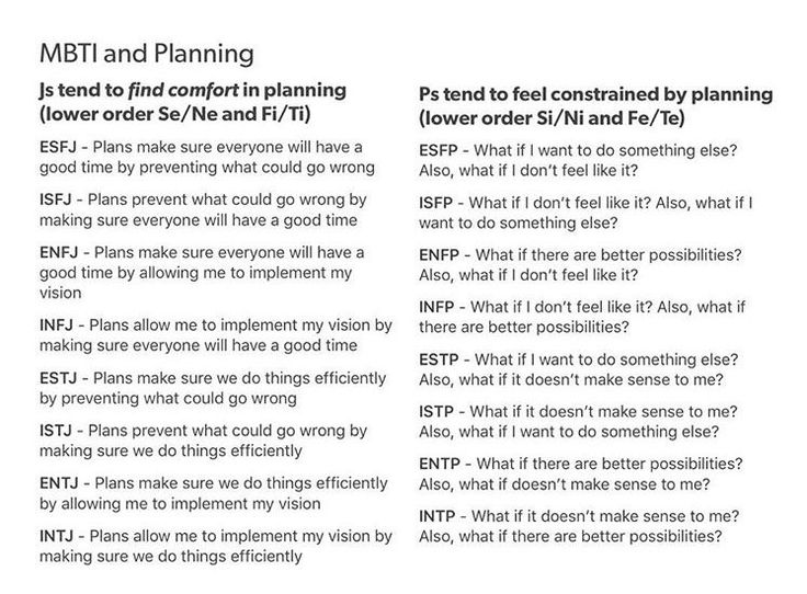 MBTI and Planning