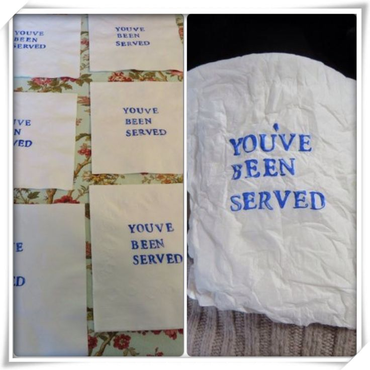 Hand stamped napkins for lunch buffet. Law school graduation party.