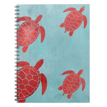 Red and Blue Green Sea Turtle Notebook