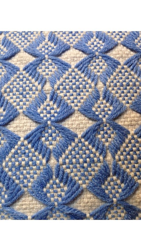 Each side has a different design. This beautiful Sky Blue and Cream Huck Weave Scandinavian Pillow is in excellent vintage condition. It