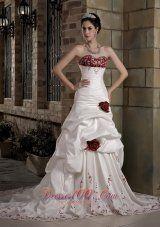 Graceful A-line Sweetheart Chapel Train Taffeta Embroidery Hand Made Flowers Wedding Dress