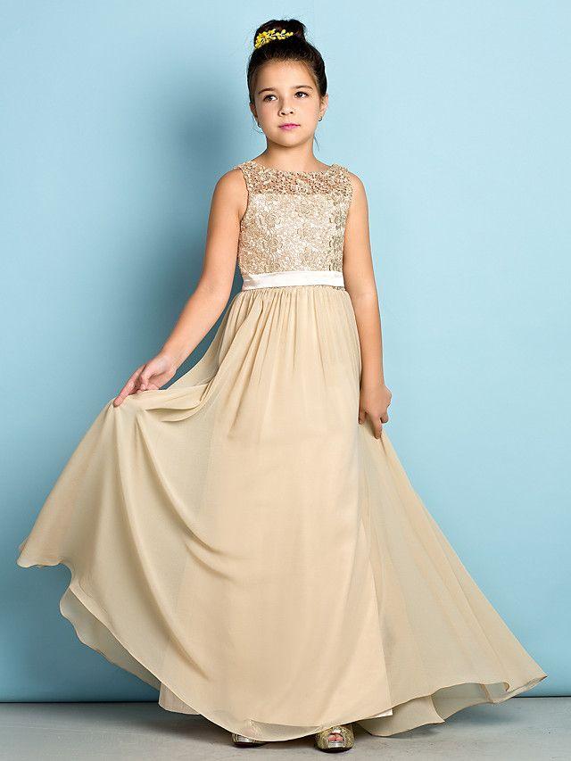 Floor-length Chiffon / Lace Junior Bridesmaid Dress - Champagne A-line Scoop - AUD $ 114.39