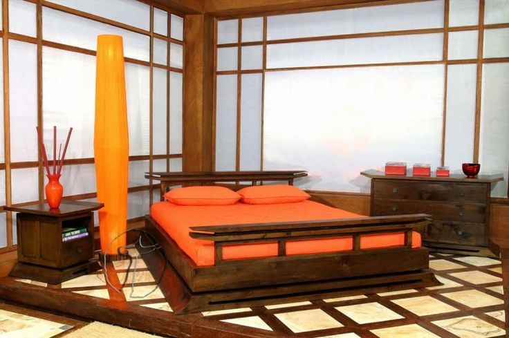 Bedroom, Japanese Wooden Bed Frame Designs With Tower Floor Lamp And Orange Color Schemes: Easy Steps of How to Build a Wooden Bed Frame