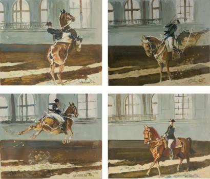 Gabriel LAMOTTE (XIXème - XXème siècle) Peintre officiel du cadre noir à Saumur. «Cheval m