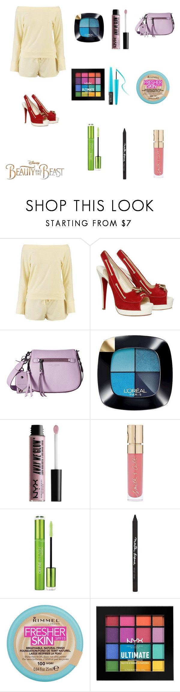 """""""Cinema date"""" by ceiraxox ❤ liked on Polyvore featuring Disney, Boohoo, Christian Louboutin, Marc Jacobs, L'Oréal Paris, NYX, Smith & Cult, Maybelline, Rimmel and MAKE UP FOR EVER"""