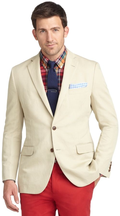 $448, Tan Cotton Blazer: Brooks Brothers Fitzgerald Fit Cotton Linen Sport Coat. Sold by Brooks Brothers. Click for more info: https://lookastic.com/men/shop_items/36945/redirect