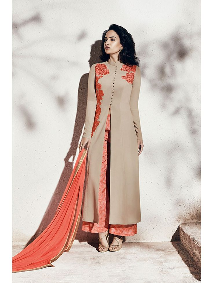 Nakkashi Beige, Orange Chiffon and Georgette Designer Salwar Kameez