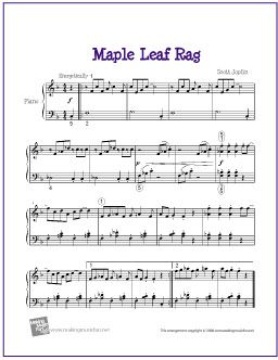 Maple Leaf Rag (Joplin) | Free Sheet Muic for Easy Piano - http://makingmusicfun.net/htm/f_printit_free_printable_sheet_music/maple-leaf-rag.htm