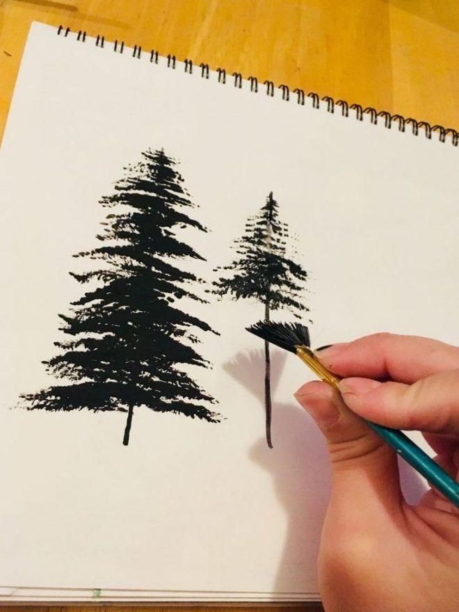 Pintura De Arboles Con Un Pincel De Abanico Pintura Acrilica Paso A Paso Pintura De Arbol Tecnicas De Arte Pintar En Oleo